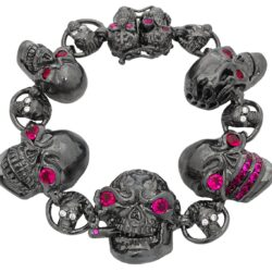 BR600-BK-RD Skull Jewelry Bracelet (Clasped) in Rhodium Plated Sterling Silver with Red Stones (Black Collection), designed by Steve Soffa