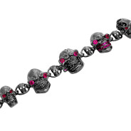BR600-BK-BK Skull Jewelry Bracelet (Unclasped) in Rhodium Plated Sterling Silver with Black Stones (Black Collection), designed by Steve Soffa