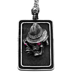 DT100-B The Gangster Skull Dog Tag in Sterling Silver with Rubies and Black Diamonds, designed by Steve Soffa