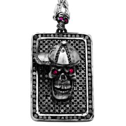 DT102-A The Player Skull Dog Tag in Sterling Silver with Black Diamonds and Rubies, designed by Steve Soffa