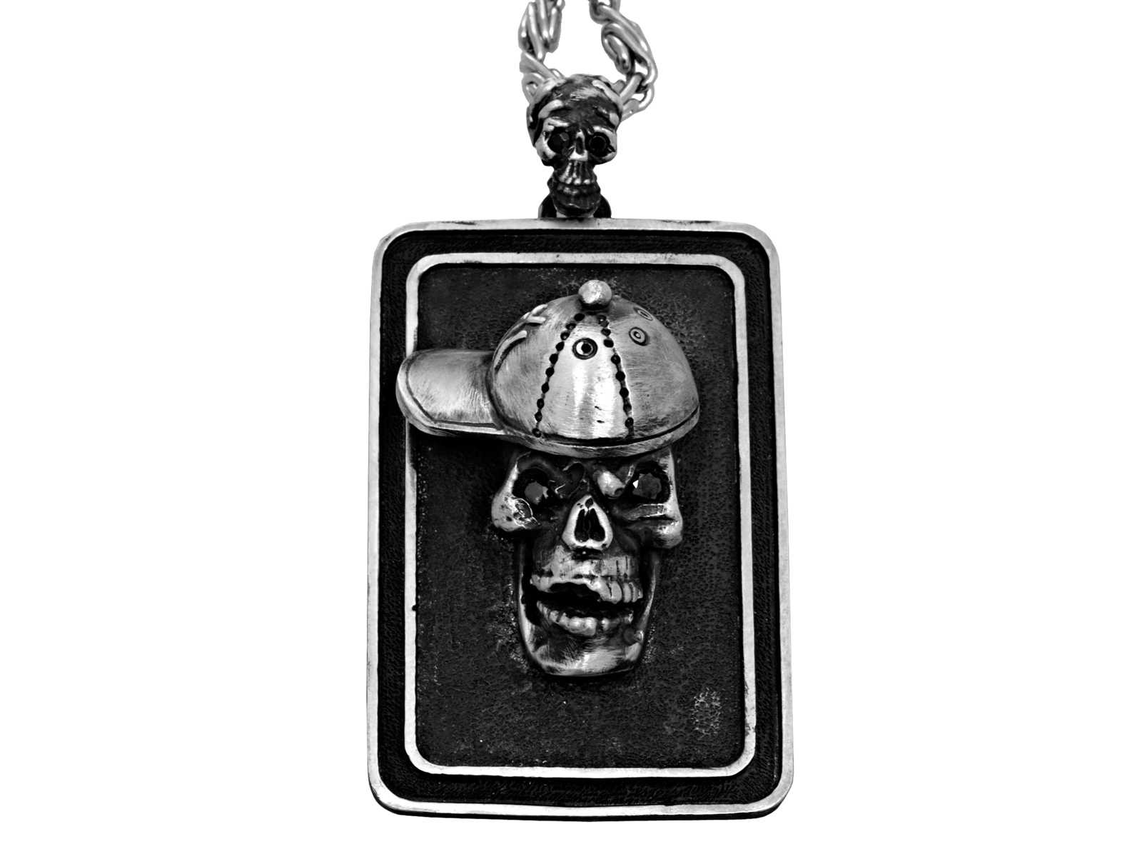 DT102-B The Player Skull Dog Tag in Sterling Silver with Black Diamonds, designed by Steve Soffa