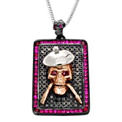 DT104-A The Artist Skull Dog Tag in White Gold, Rose Gold and Silver with Black Diamonds & Rubies, designed by Steve Soffa