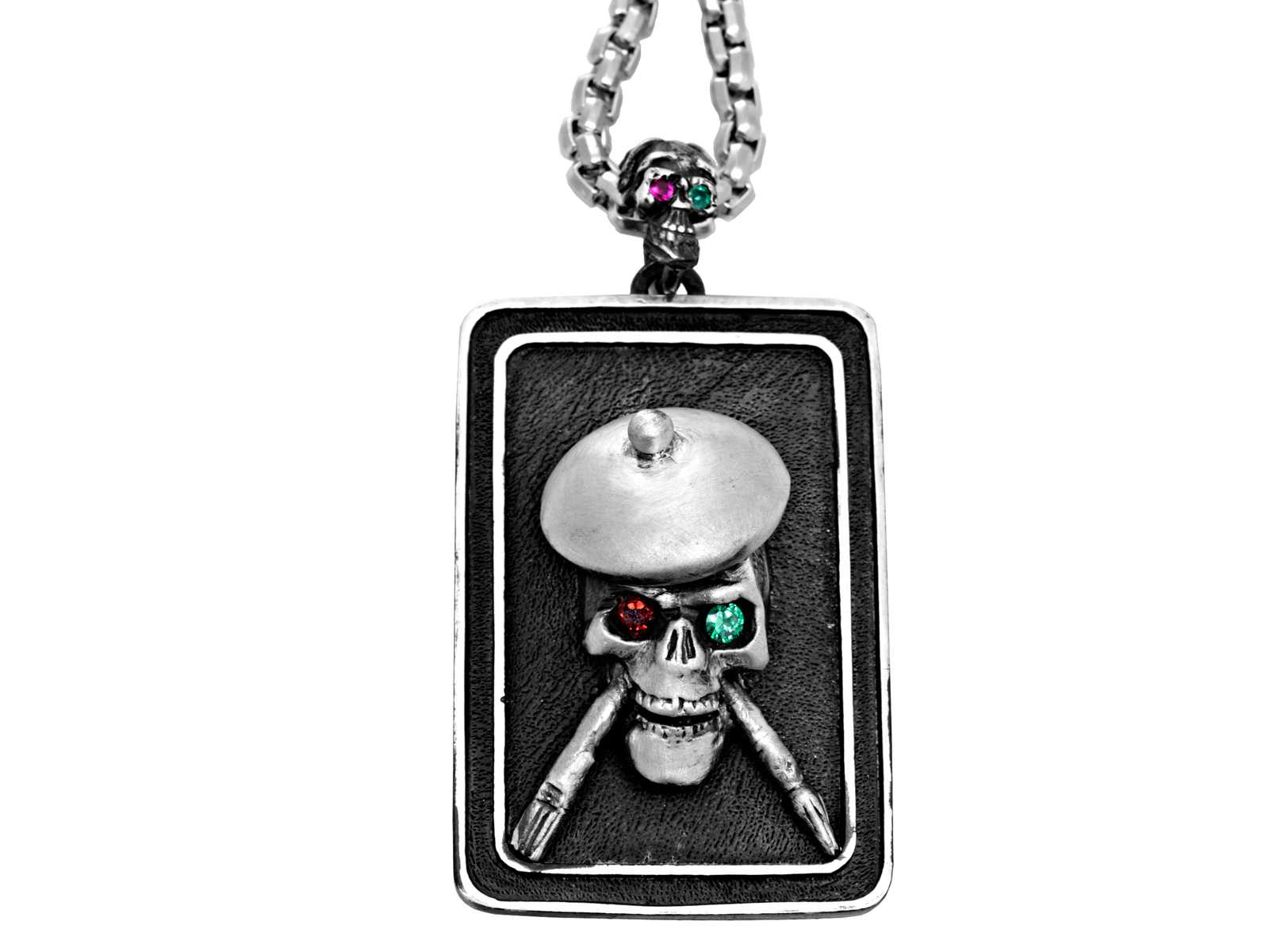 DT104-B The Artist Skull Dog Tag in Sterling Silver with Tsavorite and Ruby, designed by Steve Soffa