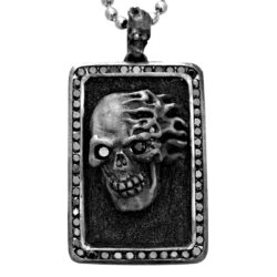 DT190-B Flaming Skull Dog Tag In Sterling Silver with Black Diamonds, designed by Steve Soffa