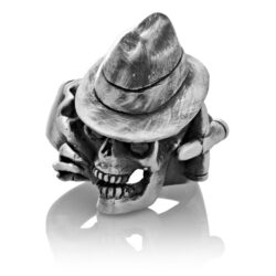 RG100-A The Gangster Skull Ring (Front View) in Sterling Silver with Black Stones, designed by Steve Soffa