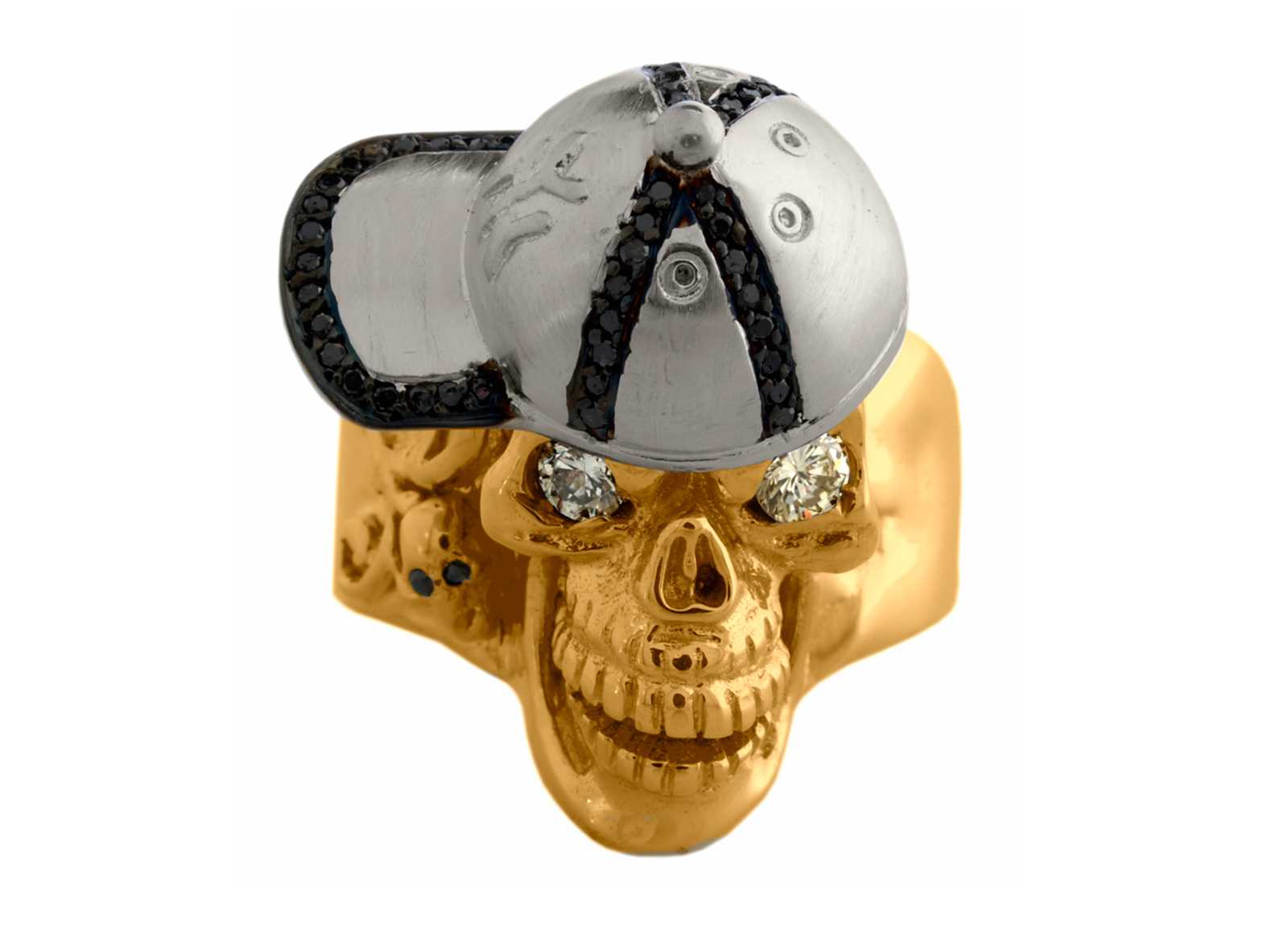 RG1002-B The Player Skull Ring (Front View) in Yellow Gold and White Gold, White Diamonds and Black Diamonds, designed by Steve Soffa