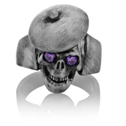 RG104-A The Artist Skull Ring (Front View) in Sterling Silver with Plum Stones, designed by Steve Soffa