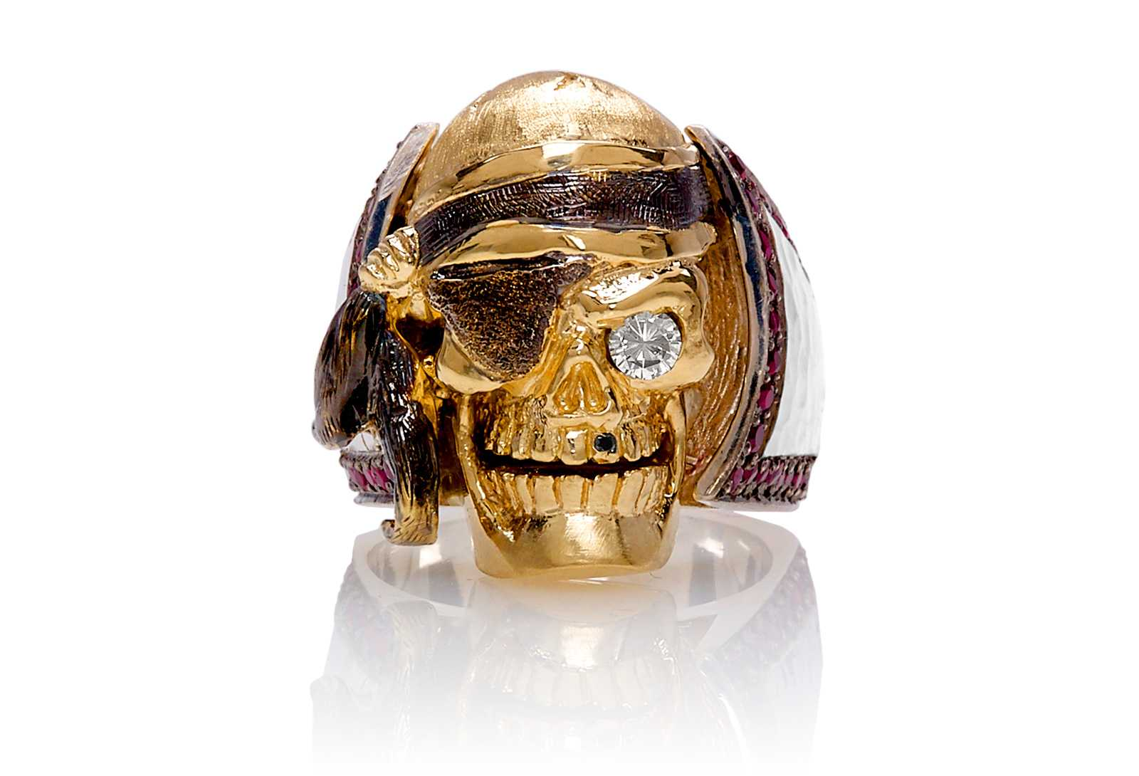 RG1040YGSIL Ol' Jack Danny Skull Ring (Front View) in Yellow/Rose Gold and Silver, with Rubies and Black/White Diamonds, designed by Steve Soffa