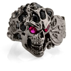 RG108BK-RD-BK The Rock Star Skull Ring (Front Side View) in Rhodium Plated Sterling Silver with Black & Red Stones (Black Collection)