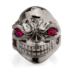 RG324BK-RD Sinister Sid Ring in Sterling Silver with Red Stones (Black Collection), designed by Steve Soffa