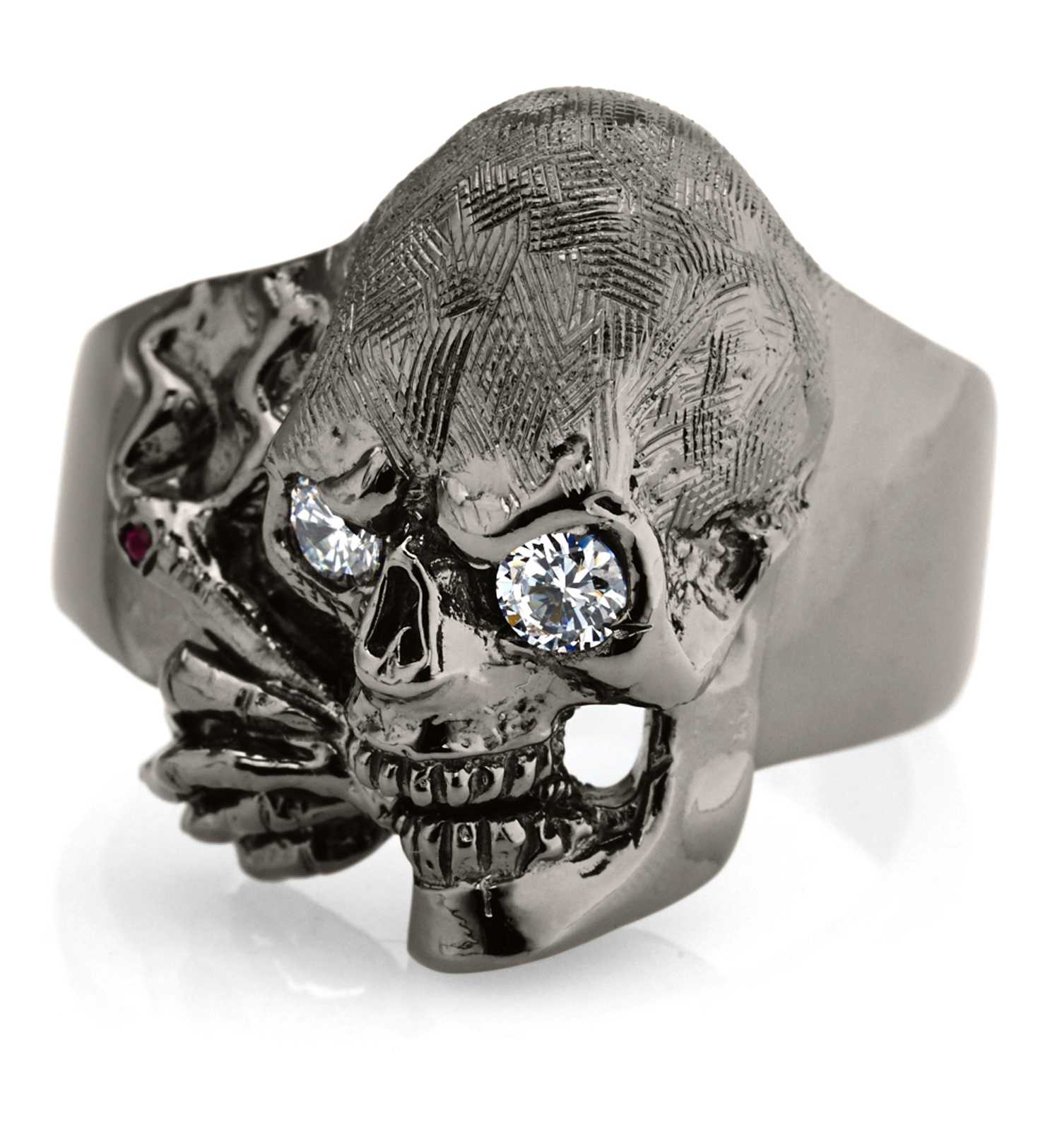 RG100BK-WHT The Clarence Catskills skull ring is cast in 27 grams 999 Sterling Silver with white synthetic stones, designed by Steve Soffa