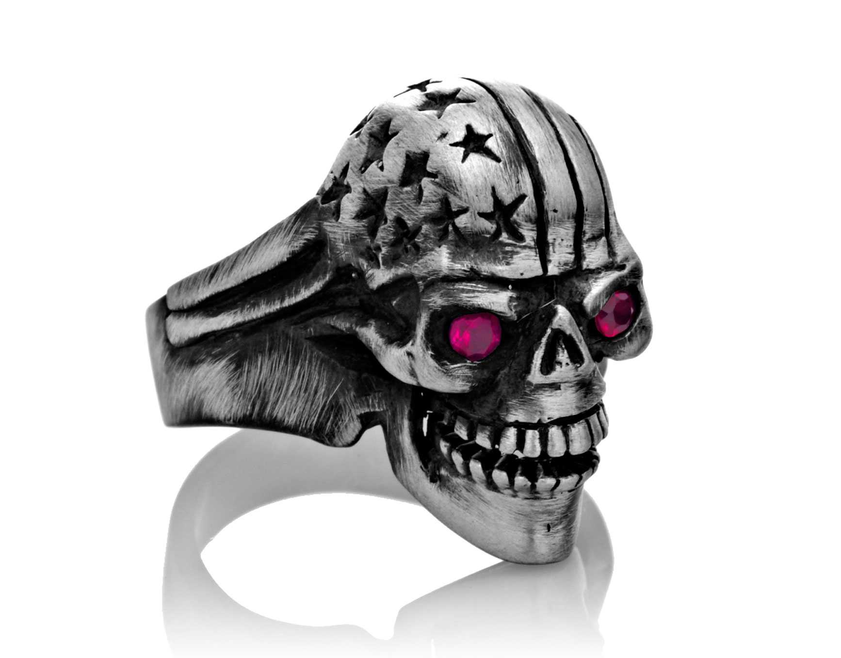 RG106-B The Freedom Rider Jewelry Skull Ring (Front Right Side View) in Sterling Silver with Red Stones, designed by Steve Soffa