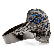 RG106BK-BL The Freedom Rider Skull Ring (Right Side) in Rhodium Plated Sterling Silver in Blue Stones, with Blue, White & Red (Black Collection), designed by Steve Soffa