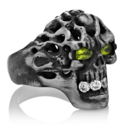 RG114-A Brainiac Skull Ring (Right Side View) in Sterling Silver with White and Green Stones, designed by Steve Soffa