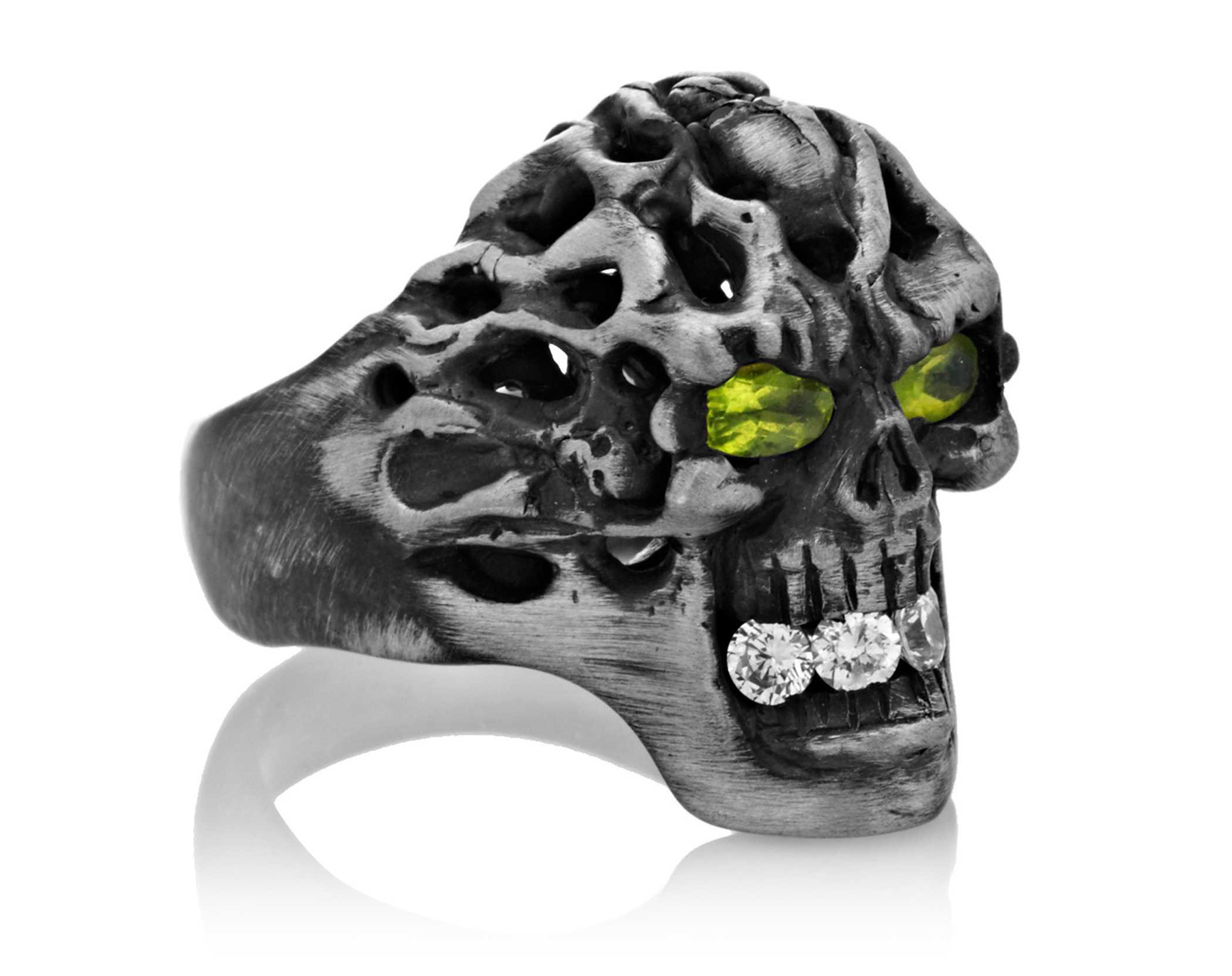 Brainiac Skull Ring Yellow Gold with Black Diamonds Steve Soffa