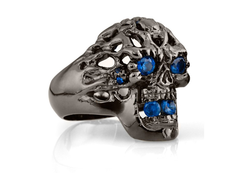 RG114BK-BL Brainiac Ring in Sterling Silver with Blue Stones (Black Collection), designed by Steve Soffa