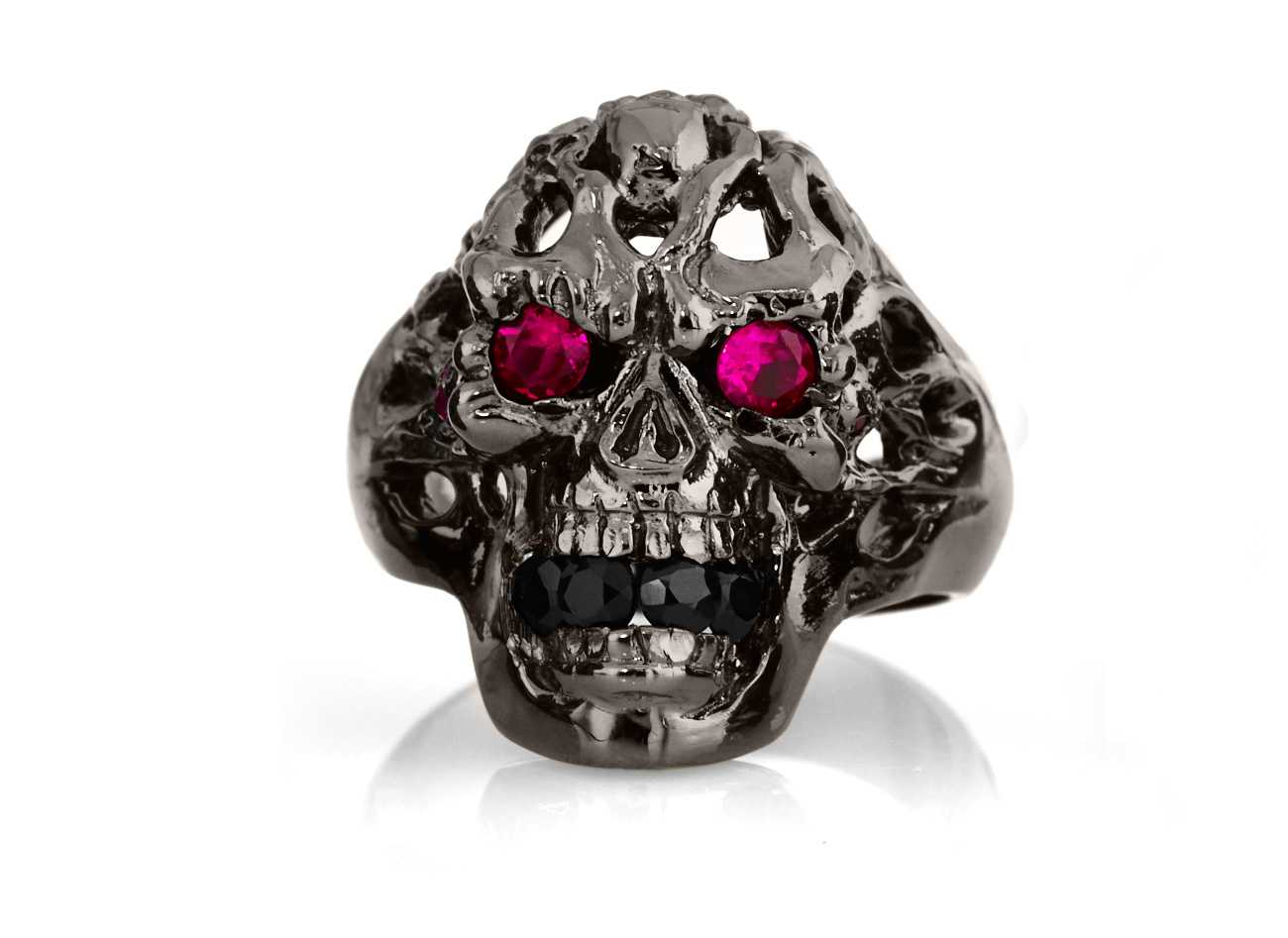RG114BK-RD-BK Brainiac Ring in Sterling Silver with Red & Black Stones (Black Collection), designed by Steve Soffa