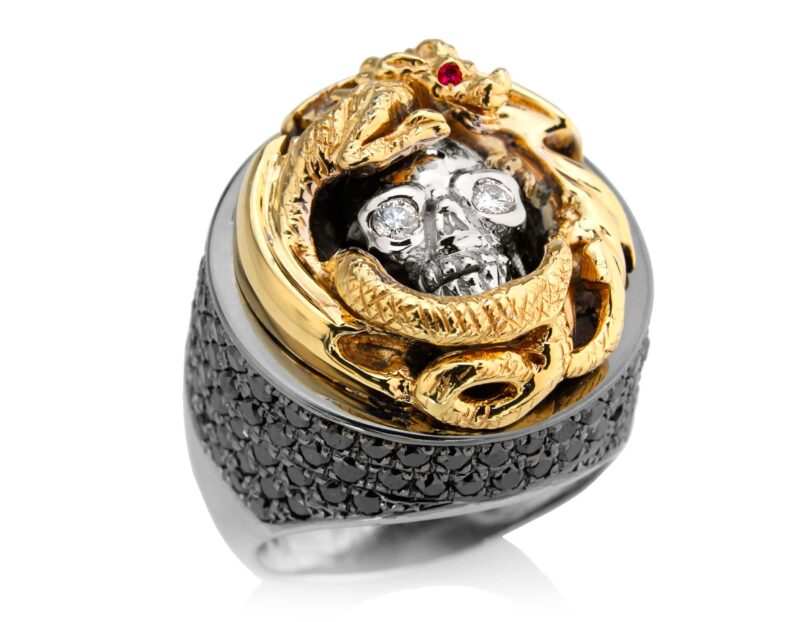 RG2508YG-WHT-BK-RD Dragon Of Deception Skull Ring (Front Right Side Bottom View) in Yellow Gold with White & Black Diamonds & Red Stones, designed by Steve Soffa