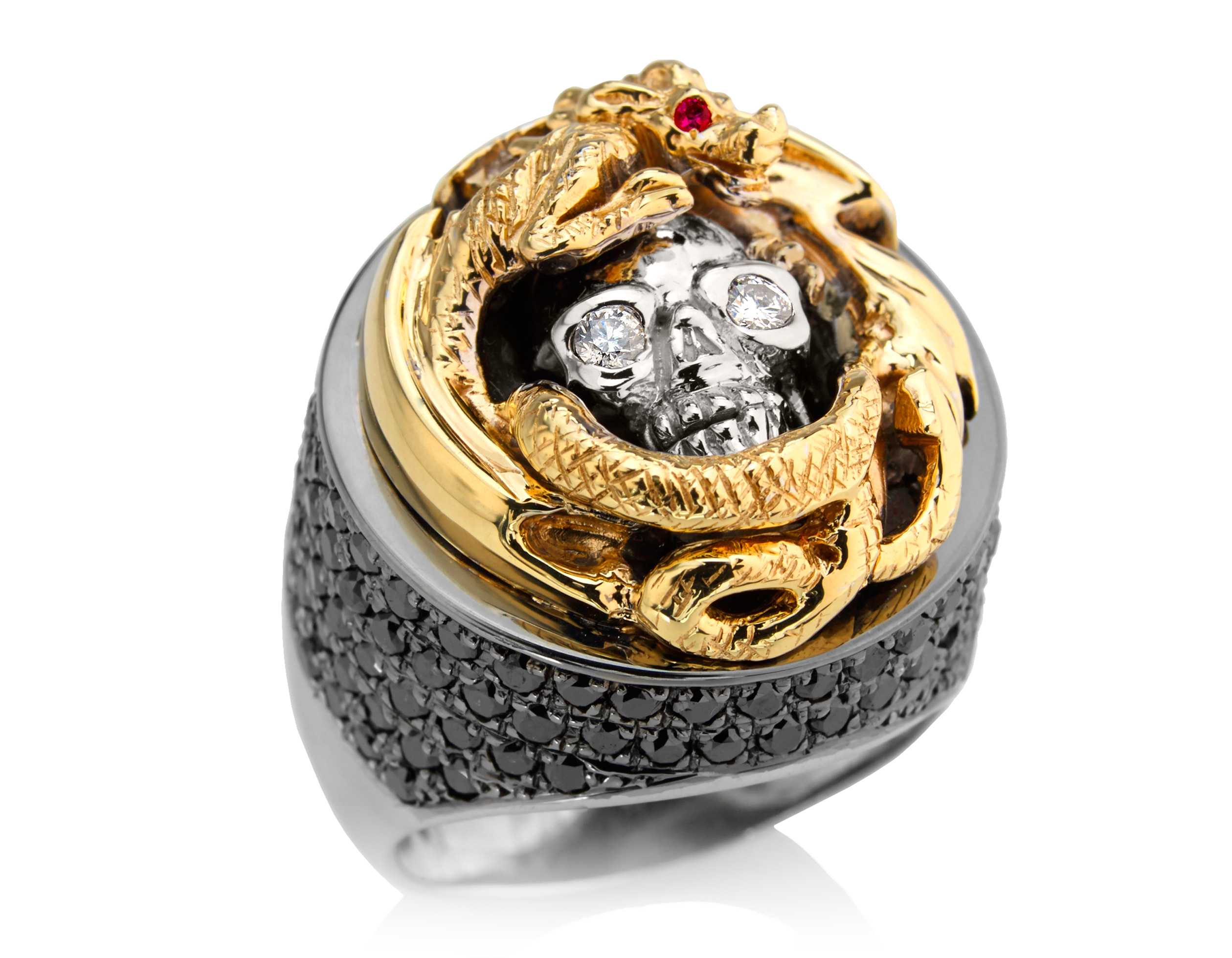 rings gold engagement artemer collections ring grey rose in red diamond