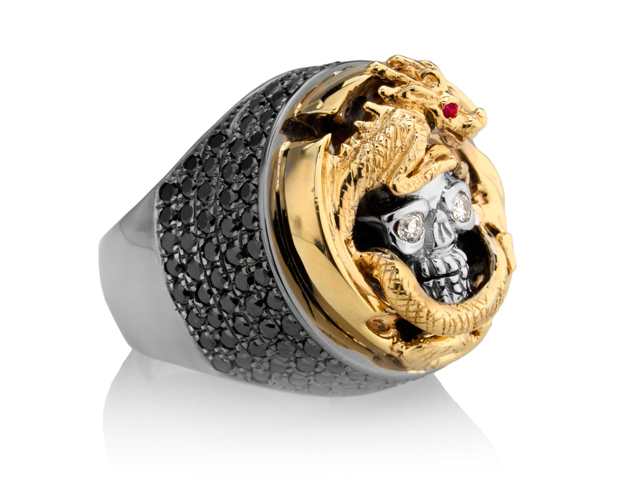 Dragon Deception Skull Ring in Yellow Gold with White