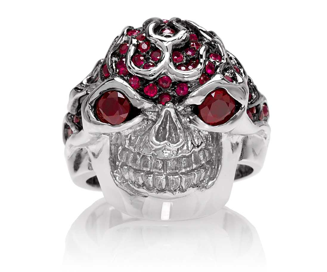 RG3022WG-A Blazing Bruno Skull Ring (Front View) in White Gold with Rubies, designed by Steve Soffa