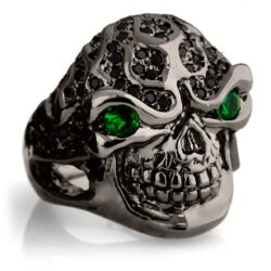 RG322-BK-GRN-BK Blazing Bruno Skull Ring (Side View) in Sterling Silver in Green & Black Stones (Black Collection), designed by Steve Soffa