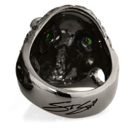 RG322-BK-GRN-BK Blazing Bruno Skull Ring (Back View) in Sterling Silver in Green & Black Stones (Black Collection), designed by Steve Soffa