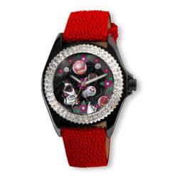 SSK731-BK Sugar Bubble Watch (Burbujas De Azucar) in a Black face with Red Stingray Strap (Calaveras De Azucar Colleción), designed by Steve Soffa