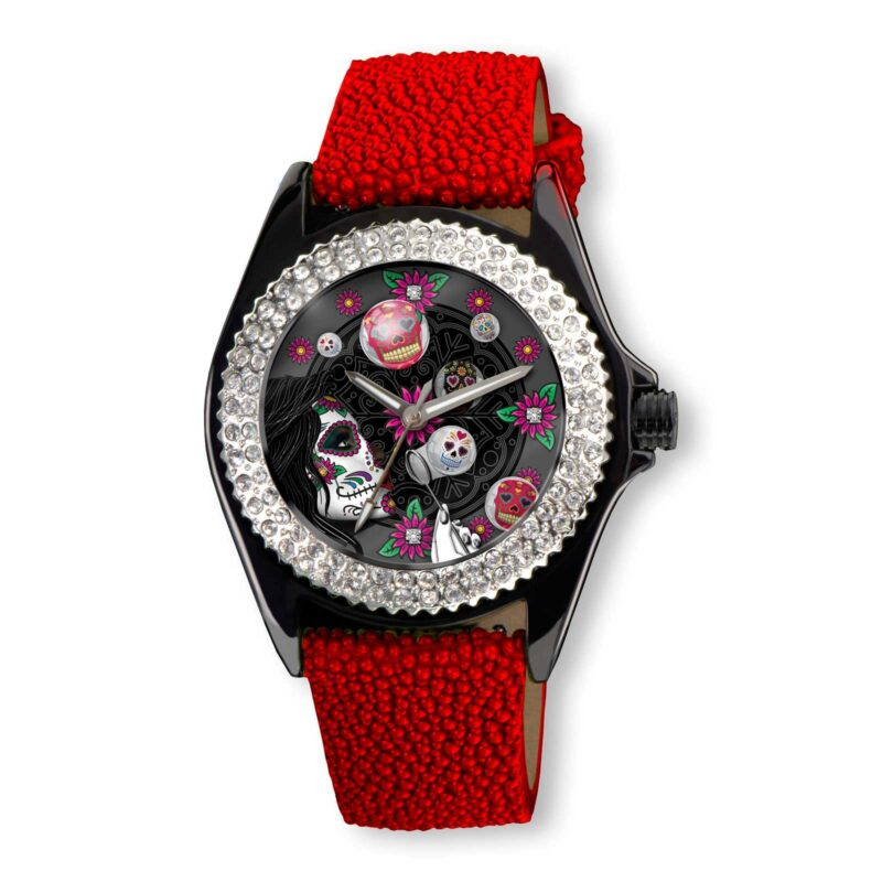 SSK731-BK Sugar Bubble Watch (Burbujas De Azucar) in a Black face with Red Stingray Strap (Calaveras De Azucar Colleción), designed by Steve Soffa