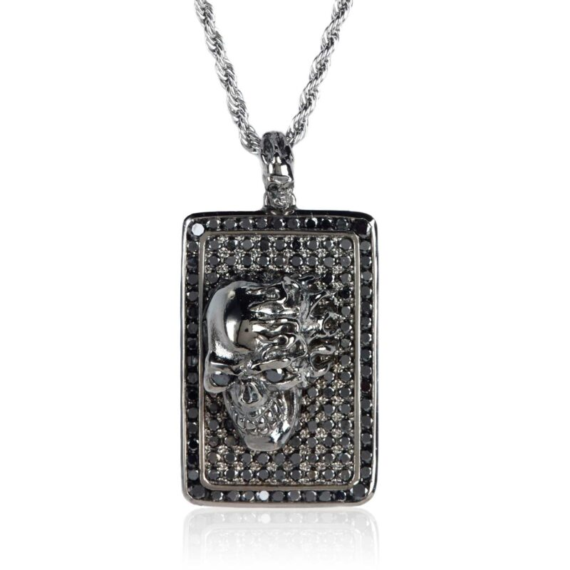 DT190-A Skull Dog Tag Rhodium-Plated Sterling Silver with Black Diamonds, designed by Steve Soffa