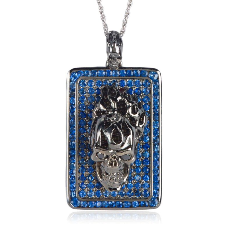 DT192-H Flaming Skull Dog Tag Rhodium-Plated Sterling Silver with Blue Sapphires, designed by Steve Soffa