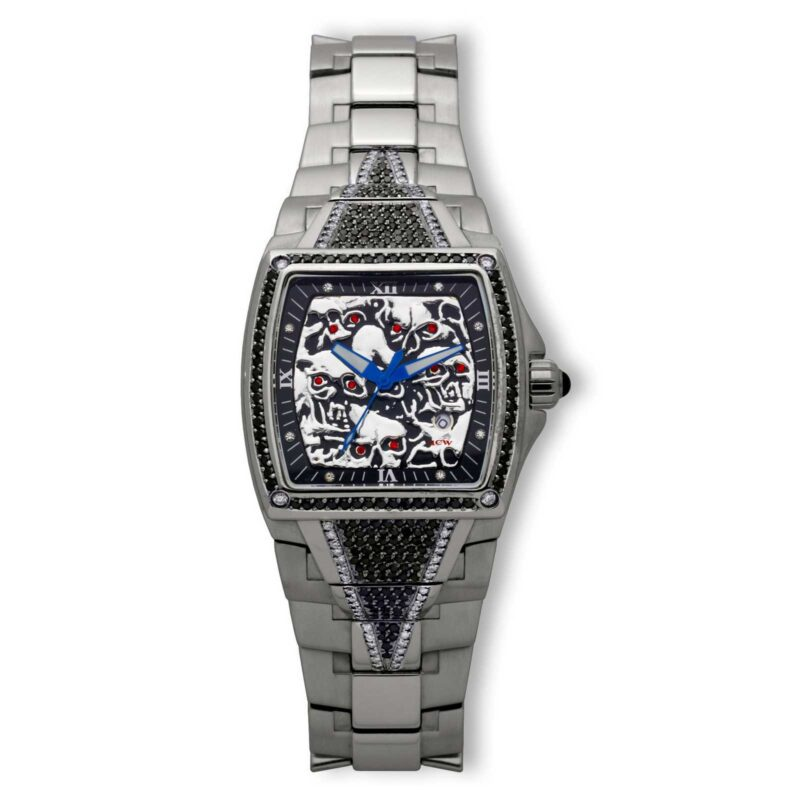 HCW806DC-SS-BK Lost Skulls Watch Stainless Steel with 3.5 ct Black Diamonds and 1ct White Diamonds