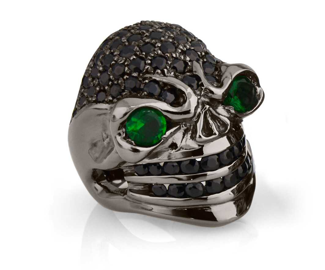 RG326BK-GRN-BK Venomous Val Skull Ring (Front Side View) in Sterling Silver with Green & White Stones (Black Collection), designed by Steve Soffa