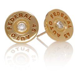 EAR203YG .45 Bullet Earrings in 14kt. Yellow Gold with White Diamonds