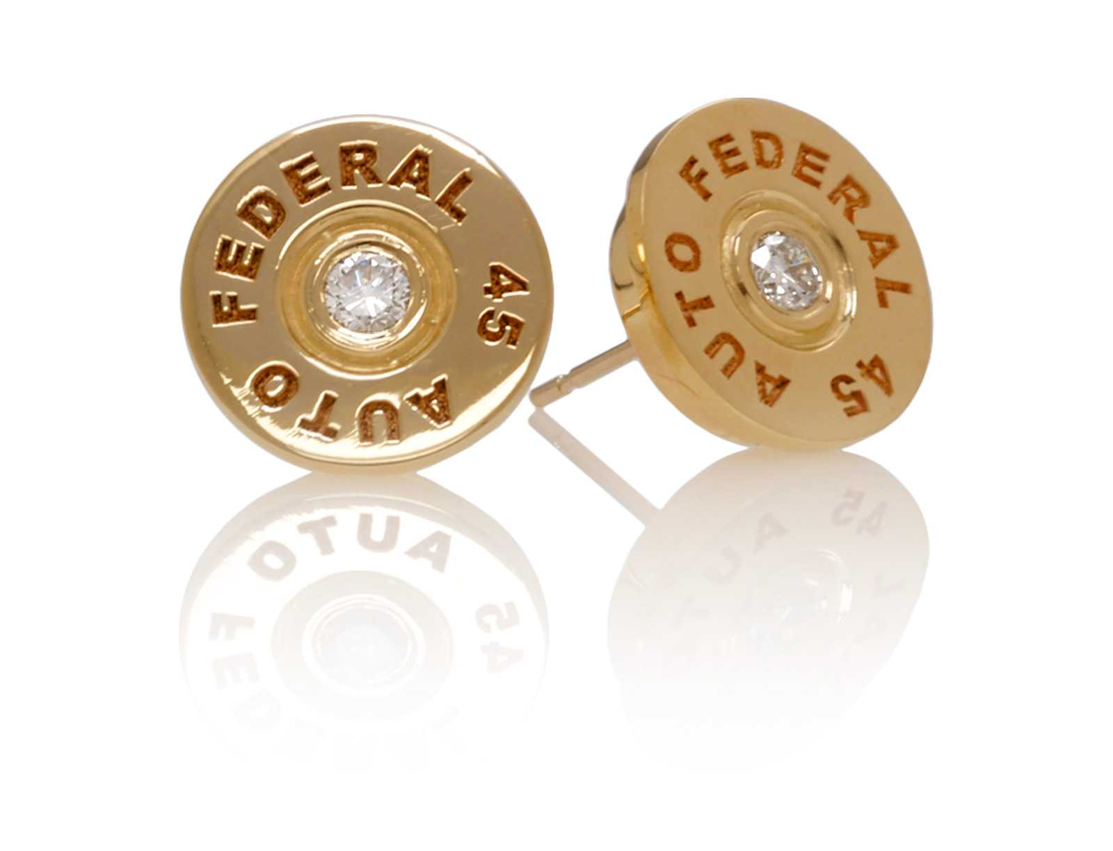 EAR203YG .45 Bullet Earrings in 14kt. Yellow Gold with White Diamonds
