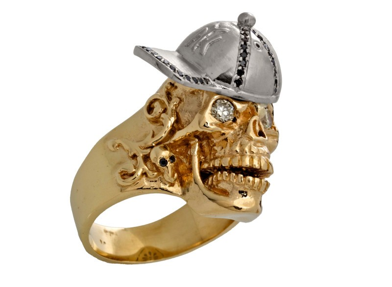 RG1002-A The Player Skull Ring (Front Right Side View) in Yellow and White Gold, with White and Black Diamonds, designed by Steve Soffa