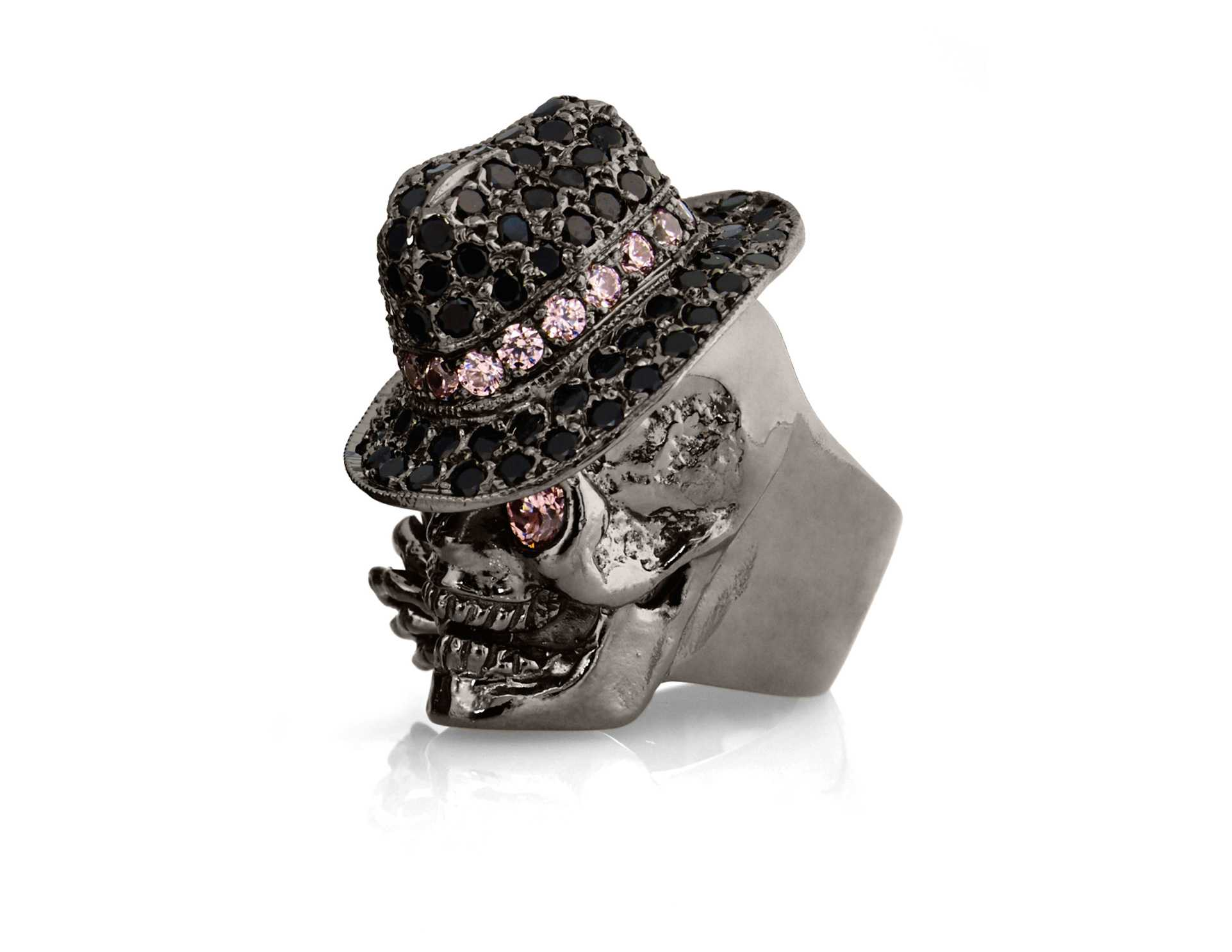 RG100BK-RS-BK The Gangster Skull Ring in Rhodium Plated Sterling Silver with Black & Rose Stones (Black Collection), designed by Steve Soffa