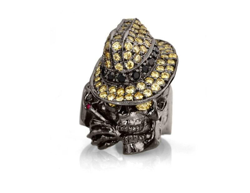RG100BK-YL-BK The Gangster Skull Ring in Rhodium Plated Sterling Silver with Black & Yellow Stones (Black Collection)