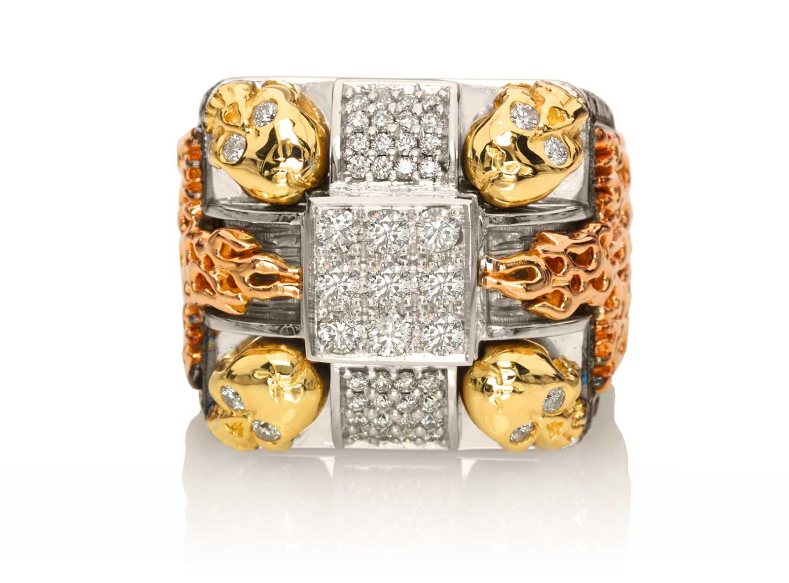 RG1014WG-A Gatekeepers Ring in White, Yellow and Rose Gold with White & Black Diamonds