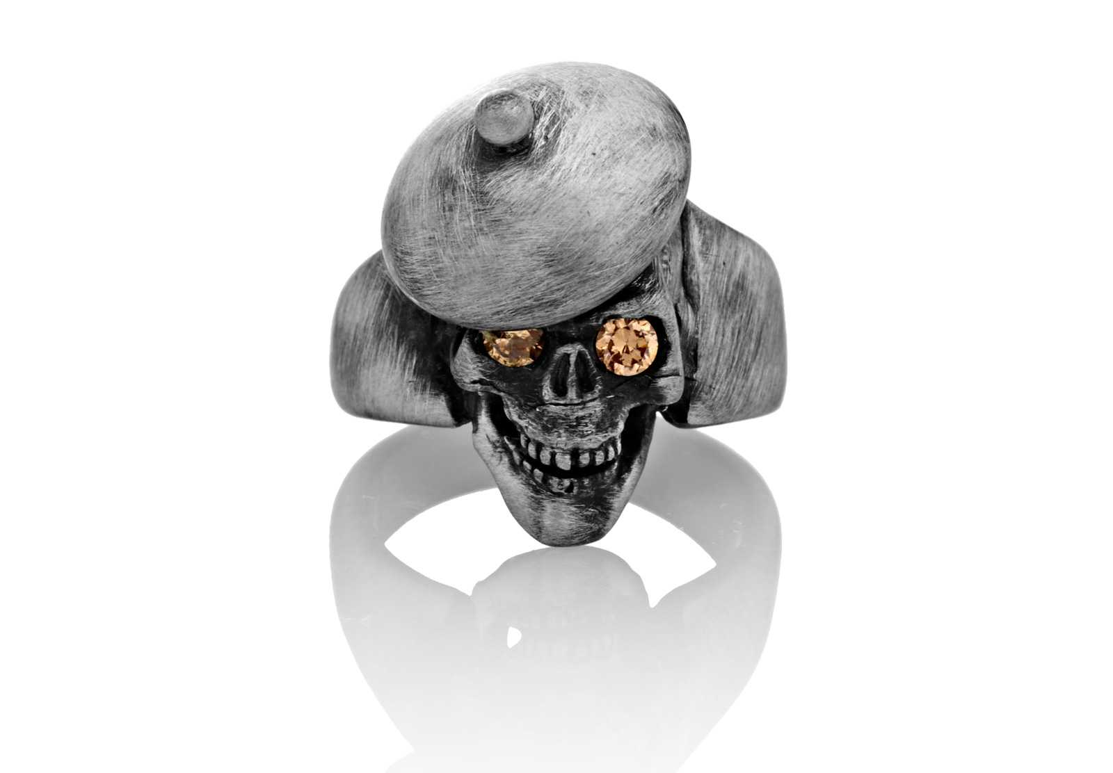 RG104-B The Artist Skull Ring (Front View) in Sterling Silver with Amber Stones, designed by Steve Soffa