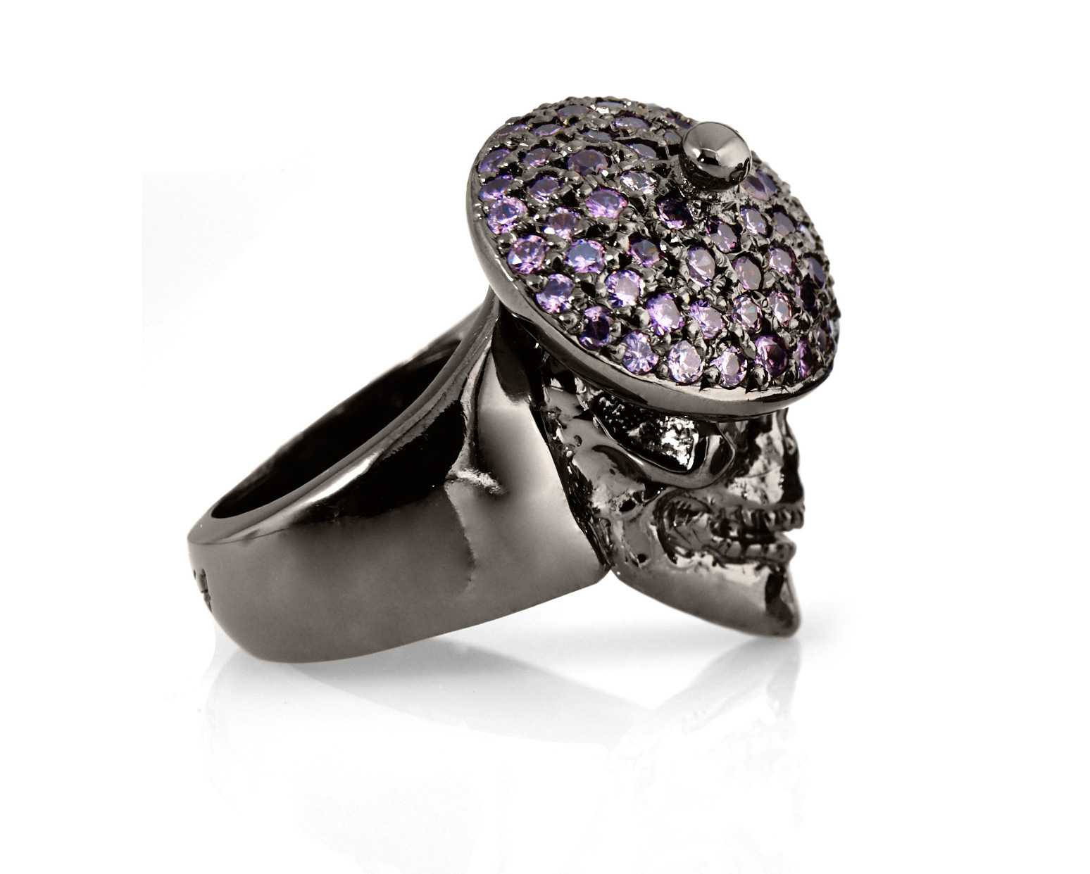 RG104BK-PUR The Artist Skull Ring in Rhodium Plated Sterling Silver with Purple Stones (Black Collection), designed by Steve Soffa