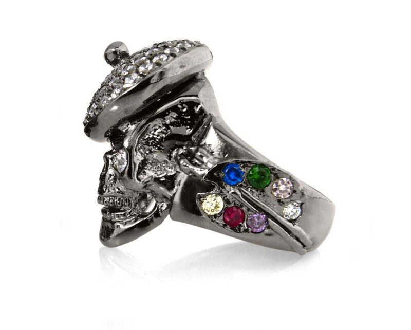 RG104BK-WHT The Artist Skull Ring in Sterling Silver with White Stones (Black Collection), designed by Steve Soffa