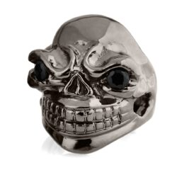 RG324-BK-BK Sinister Sid Skull Ring (Front Side View) in Rhodium Plated Sterling Silver with Black Stones (Black Collection), designed by Steve Soffa