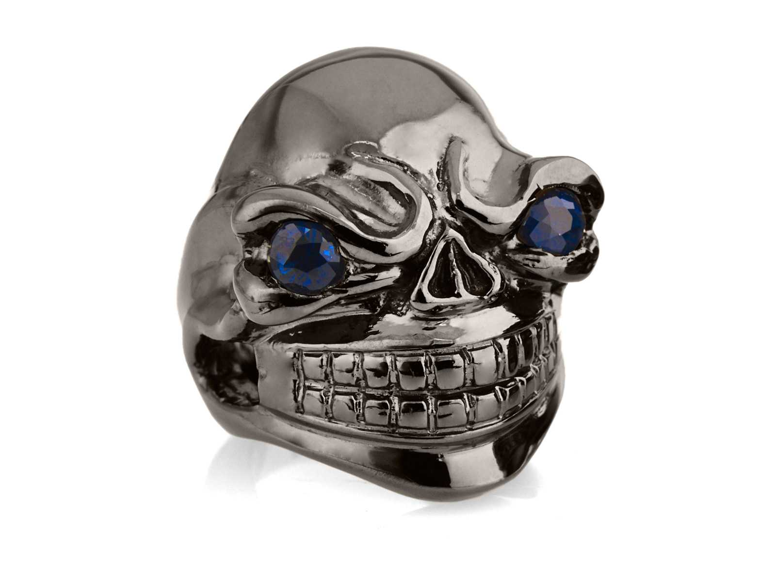 RG324BK-BL Sinister Sid Ring in Sterling Silver with Blue Stones (Black Collection), designed by Steve Soffa