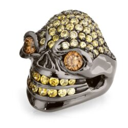 RG326BK-AMB-YL Merciless Mary Skull Ring in Rhodium Plated Sterling Silver with Amber & Yellow Stones (Black Collection), designed by Steve Soffa