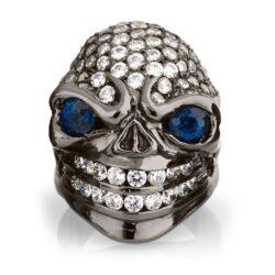 RG326BK-BL-WHT Sarcastic Sally Skull Ring (Front View) in Sterling Silver with Blue & White Stones (Black Collection), designed by Steve Soffa