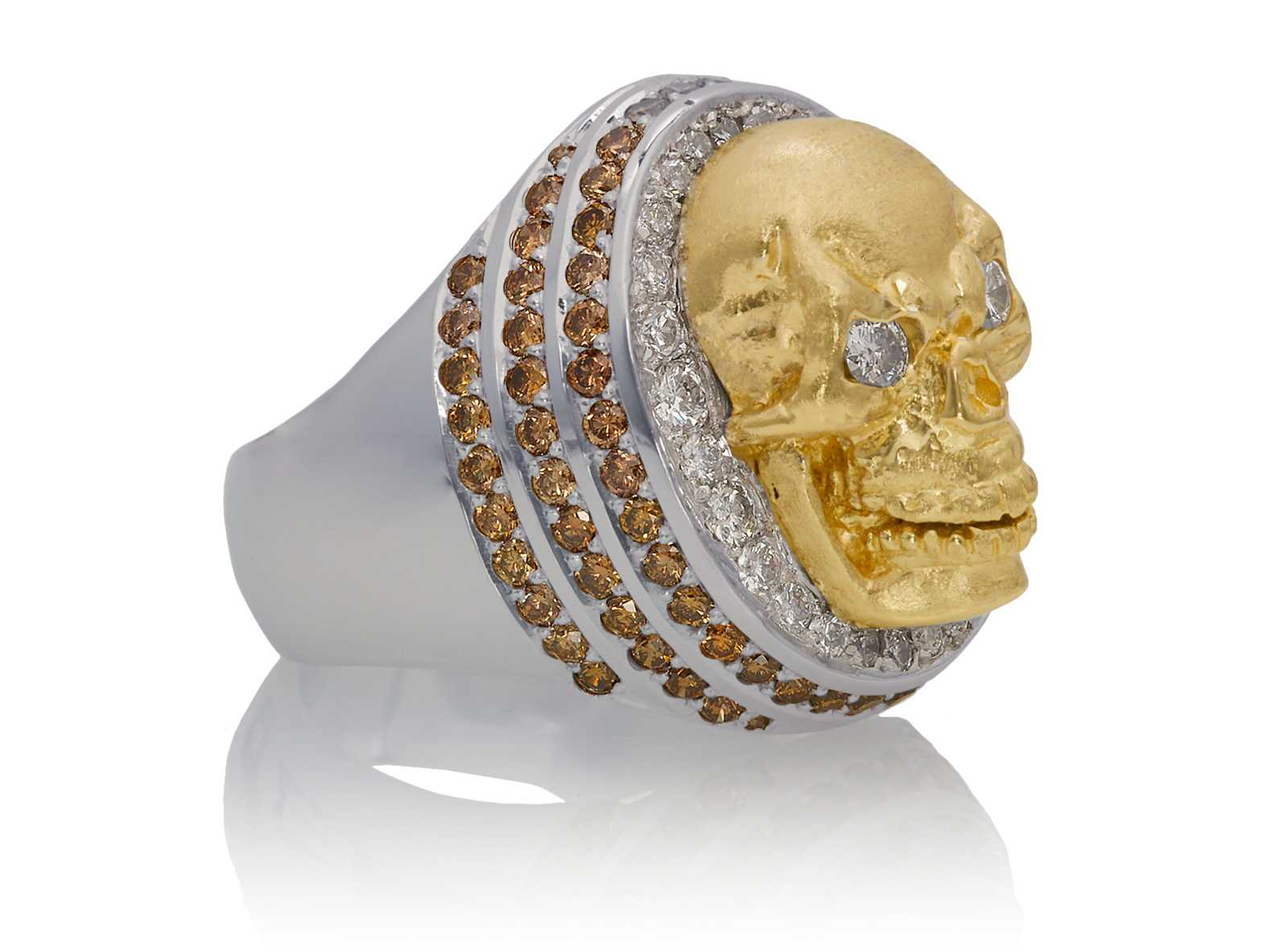 RG4006 Skull Ring in White and Yellow Gold, with White & Chocolate Diamonds, designed by Steve Soffa