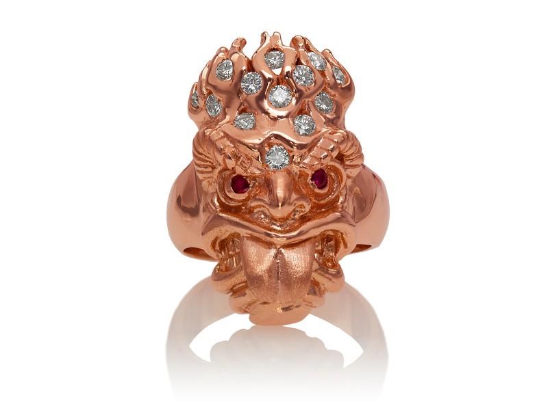 RG7010-RG Ku (Tiki Ring Long Tongue) Rose Gold with White Diamonds (Tiki Collection)