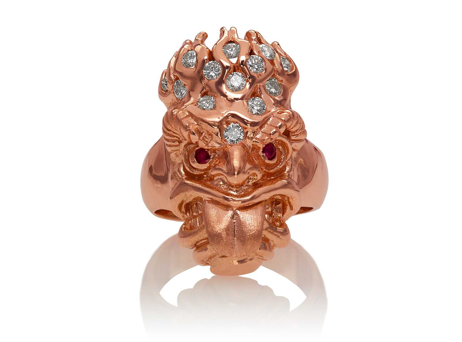 RG7010-RG Ku (Tiki Ring Long Tongue) Rose Gold with White Diamonds (Tiki Collection)