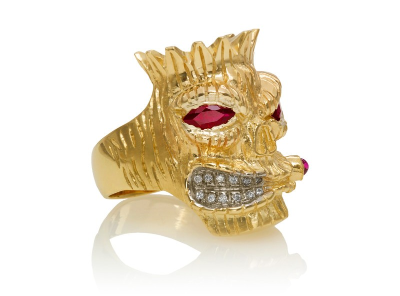RG7012-YG Lono (Tiki Ring with Cigar) Yellow Gold with Rubies and White Diamonds (Tiki Collection)